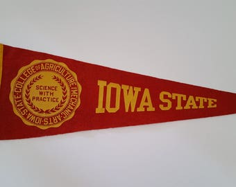 Vintage 1950's Iowa State University Cyclones wool felt pennant,  age appropriate wear, Science With Practice.