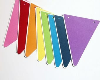 Rainbow Party Bunting, Triangle pennant banner. Rainbow birthday party, photo prop, baby shower, girl or boy, first birthday, rainbow bright