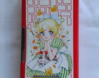 Showa shoujo big eye girl vintage japanese pencil case box, candy manga style, illustrated by Ritsuko Abe