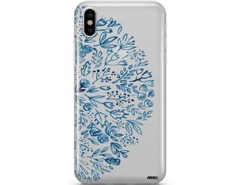 iPhone X Indigo Henna - Clear TPU Case Cover
