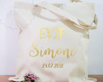 Tote Bag EVJF Team Bride Gift Wedding Shoulder Bags Gifts Ivited Cotton Pouch Custom Tote Bags Customizable Bag Bride Tribe Gold Bridal Pary