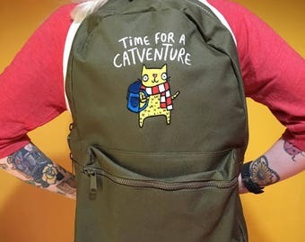 Time For A Catventure! Backpack - Travelling- Back to School - Rucksack - Back to University -  Cat Gift