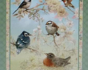 Anniversary Sale Garden Melodies~~Panel 24 x 44 Inches~Cotton Fabric,~ Birds~SPX Fabric~Fast Shipping N305