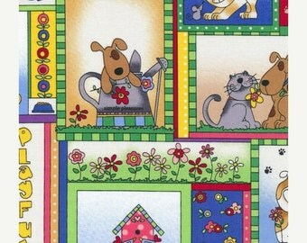 Easter  SALE Love is a 4 Legged Word ~Animal Squares~Cotton Fabric, Quilt,by Fabriquilt~Fast Shipping,N432