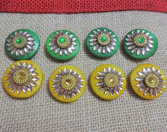 Fabric Covered Buttons, Decorative Buttons, Sew on Buttons with Mirrors, Embroidered Buttons, Indian Kundan Work- 8 pcs