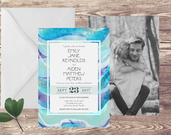 The Santa Rosa Wedding Invitation & RSVP Set, Beach Wedding Invitation with Photograph, Ocean Wedding Invite, Destination Wedding Invitation