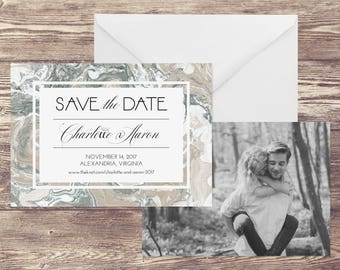 Photograph Save the Date Card, Save the Date with Photograph, Marble Save the Date with Photo, Photo Save the Date, Modern Save the Date