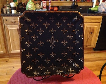 Fleur de lis tray with stand