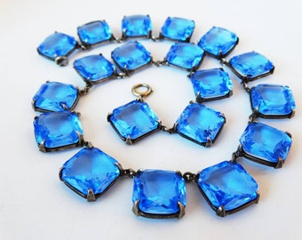 Art Deco Czech Glass Clear Blue Glass and Silver Necklace