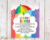 PRINTABLE Late Night Diapers Sign, Baby Shower Party Sign, Baby Shower Games, Game Station Sign, Rainbow Baby Shower Sign, INSTANT DOWNLOAD