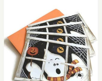 ON SALE Vintage Current Halloween Greeting Cards - Set of 15 Cards and Envelopes, Ghosts, Pumpkins, Black Cats and Princess Trick or Treatin