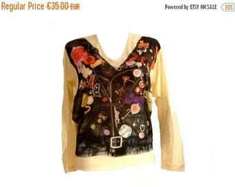 ON SALE MOSCHINO / Vintage top with print / Size 4