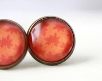 Earrings, 12 mm, bronze, leaf, autumn, autumn