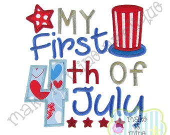 Applique Embroidery Patriotic Baby My First 4th of July Machine Applique Design