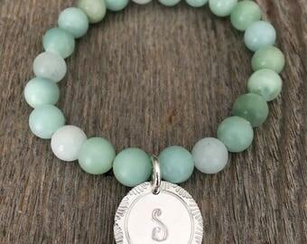 Customized Beaded Bracelet, Monogram Beaded Bracelet, Monogram Bracelet, Initial Bracelet, Glass Beaded Bracelet, Aqua Bracelet