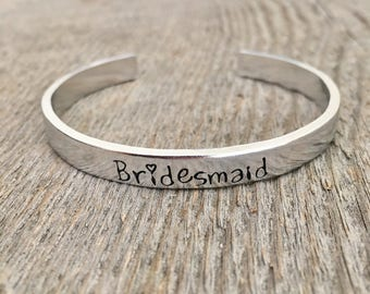 Bridesmaid Bracelet, Bridesmaid Cuff, Bridesmaid Jewelry, Gift for Bridesmaid, Silver Bridesmaid Bracelet, Bridesmaid Gift, Gift under 20