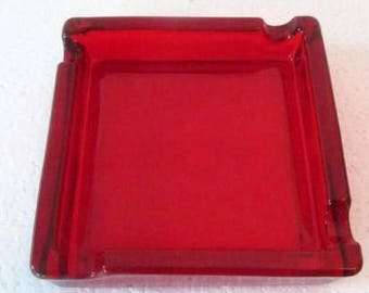 Vintage Viking Glass Red Color Square Shape Solid Collectible Pressed Glass Ashtray