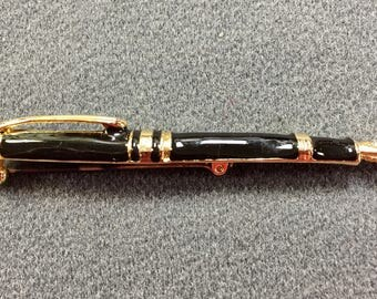 Fountain Pen Brooch with Black Enamel and Rhinestone-Free shipping