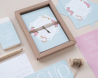 SAMPLE - Vintage Boxed Wedding Invitation. Alice in Wonderland Inspired Wedding Stationery. Gypsophila, Packet Watch and Cheshire Cat.
