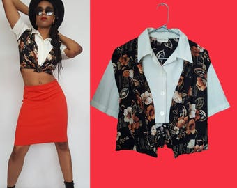 Vintage 90s Floral Crop Top/Boho/Blossom/Tie Back/Faux undershirt/Button up