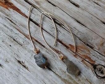 Labradorite Raw Stone Nugget Drop Earrings, Gold plate ear wires, Pierced Ears.