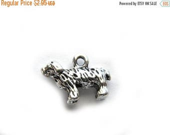 HALF PRICE 6 Silver 3D Dog Charms  -  15mm