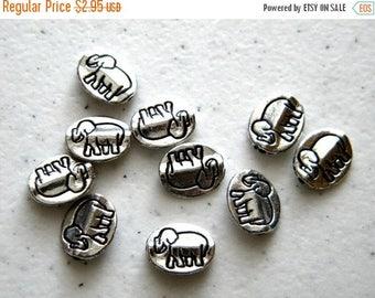 HALF PRICE 10 Silver Elephant Beads
