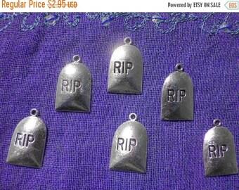 HALF PRICE Gravestone Charm - 6 Charms - Halloween Charm - Tombstone Charm - Headstone Charm