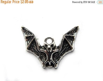 HALF PRICE 6 Silver Flying Bat Charms -  Halloween Charms