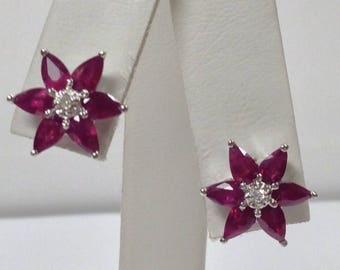 Natural Ruby with Natural Diamond Stud Earrings Solid 14kt White Gold