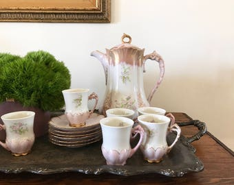 Vintage Pink and Gold Hand Painted Floral Antique Hot Chocolate Set