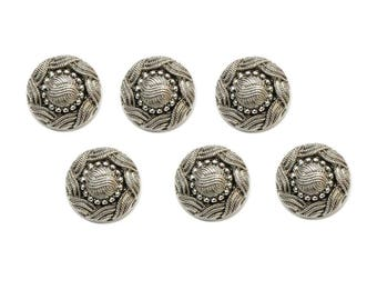 6 buttons 22 mm silver metal