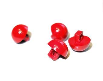 6 round button red 12 mm ball