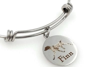 German Shorthaired Pointer, GSP Engraved Expandable Personalized Bangle Bracelet