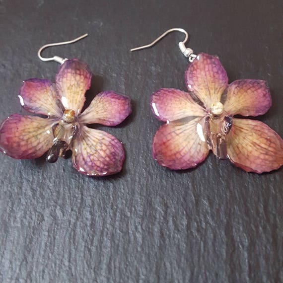 Real orchid earrings - real flower earrings - preserved orchid - preserved flower - orchid jewellery - flower jewellery - mokara orchid