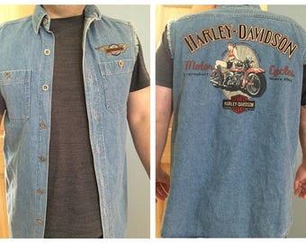 Harley Davison Sleeveless mens Denim shirt / mens small