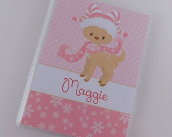 Baby Girl Photo Album Christmas Pink Reindeer 4x6 or 5x7 picture Grandmas Brag Book Gift Personalized Photo Book Newborn Holiday Present 694