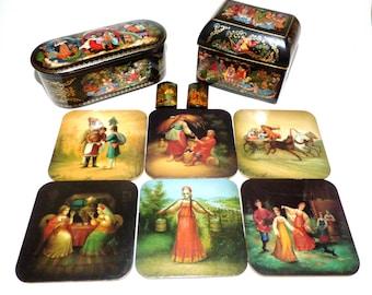 Vintage Folk Russian Art Palekh  Fedoskino Trinket Box Coasters Pendants Lot