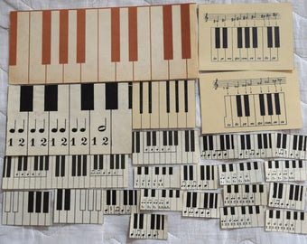 Set of 24 Vintage Book Scrap Collage Paper Ephemera For your projects B&W Illustrations and music notes