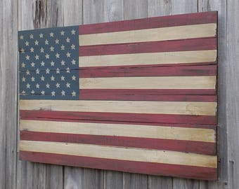 Rustic Wooden American Flag, 23 X 36 inches. Made from recycled fencing. Free Shipping J