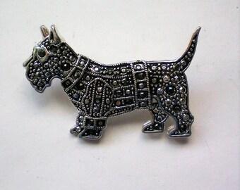 Marcasite Scottie Dog Pin - 5804