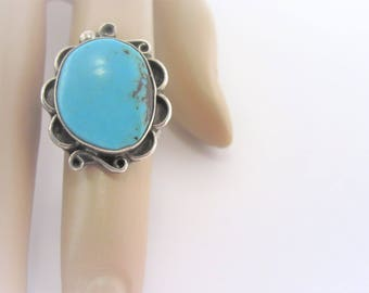 Vintage Southwestern Sterling Turquoise Ring Size 5.5