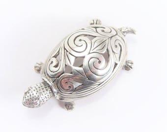 Vintage Jezlaine Sterling Turtle Brooch Silver Tortoise Pin