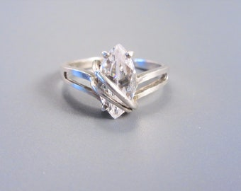 Vintage Sterling Marquise Cubic Zirconia Solitaire Ring Size 8