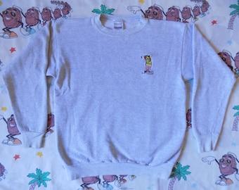 Vintage 90's Yogi Bear embroidered pullover Sweatshirt, size Medium Hanna Barbera cartoon
