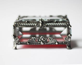 "Handmade Glass Box ""Ruby Secret"""