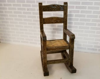 Dollhouse Miniature Shaker Style Rocking Chair, 1:12 scale