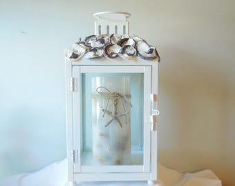 Oyster Seashell Candle Pillar Lantern-Oyster Lantern-Seashell Lantern-Oysters