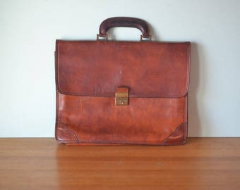 Vintage Leather briefcase Italian Valenti