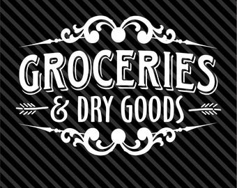 Groceries & Dry Goods Wall Decal - Pantry Kitchen Decor - Vinyl Decal - Wall Art - Kitchen Decal - Decals - Many Sizes and Colors.